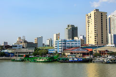 Manila, Philippines - March 7, 2016: Houses on the waterfront of the river Pasig in Manila Royalty Free Stock Photography