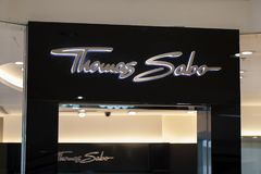 Manila, Philippines, 22 March 2018 - Thomas Sabo brand name on store entrance in SM Mall of Asia shopping mall. Jewelry store label. Bijouterie shop. Women Royalty Free Stock Images