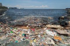 Manila, Philippines - May, 18, 2019: Ocean plastic pollution in Manila Bay shore stock image