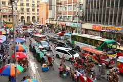 Manila. PHILIPPINES - NOVEMBER 25, 2017: People drive in heavy traffic in , Philippines. Metro  is one of the biggest urban areas in the world with 24 million Royalty Free Stock Image