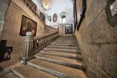 Stone stairway museum of San Agustin Church, Manila, Philippines royalty free stock images