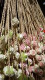 Manila rope with flower decoration Stock Photos