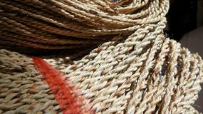 Manila rope and red plastic rope Royalty Free Stock Images