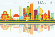 Manila Skyline with Color Buildings, Blue Sky and Reflections. Stock Photos