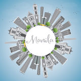 Manila Skyline with Gray Buildings and Blue Sky. vector illustration