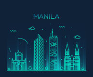 Manila skyline trendy vector illustration linear Royalty Free Stock Photography