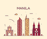 Manila skyline trendy vector illustration linear Stock Photos