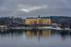 Manilla campus, school building, Stockholm, Sweden at overcast winter morning. STOCKHOLM, SWEDEN - Dec 15, 2018: The Manilla School for Blind and Deaf-Mutes on stock photo
