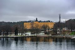 Manilla campus, school building, Stockholm, Sweden at overcast winter morning. STOCKHOLM, SWEDEN - Dec 15, 2018: The Manilla School for Blind and Deaf-Mutes on stock images