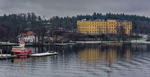 Manilla campus, school building, Stockholm, Sweden at overcast winter morning. STOCKHOLM, SWEDEN - Dec 15, 2018: The Manilla School for Blind and Deaf-Mutes on royalty free stock image