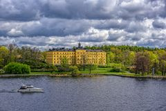 Manilla campus, school building, Stockholm, Sweden at sunny spring morning. STOCKHOLM, SWEDEN - May 03, 2019: The Manilla School for Blind and Deaf-Mutes on the royalty free stock images