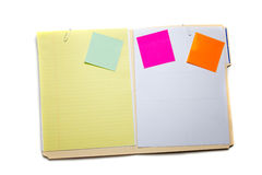 Manilla folder with post-it notes Stock Photo