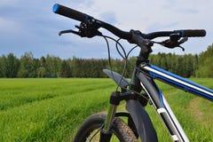 Manillar de la bici de montaña Fotografía de archivo