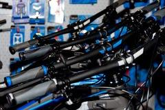 Manillares multicolores de la bicicleta Fotografía de archivo