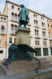 Manin statue and bronze lion, in Venice, Europe Royalty Free Stock Photography
