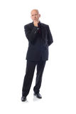 Manin suit the thinker. Man in suit thinking  on white background Royalty Free Stock Images