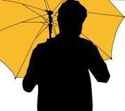 Maninnehav och paraply i kontur stock illustrationer