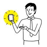 Maninnehav och visning en smartphone Lägeillustration Vektor isolerad teckning stock illustrationer