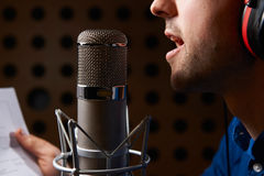 Maninnehavanmärkningar och samtal in i studiomikrofonen Royaltyfri Bild