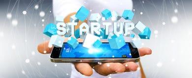 Maninnehavet som svävar 3D, framför startup presentation med kuben Fotografering för Bildbyråer