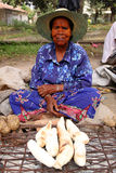Manioc seller Royalty Free Stock Photography