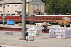 Manipulação de carga na junção de Madurai, Índia Fotos de Stock Royalty Free