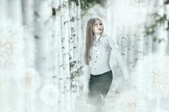 Manipulación creativa de la foto en colores brillantes con la muchacha elegante i Imagen de archivo libre de regalías