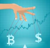 Manipulación del valor del bitcoin ilustración del vector