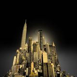 Manipulated city skyline on black sky. Useful for illustration Stock Photos