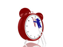 Manipulating time. Little blue guy climbing metal ladder to change the time on a giant alarm clock 3d render Stock Image