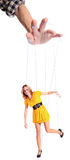 Manipulation. The woman in yellow dress on a white background Stock Image