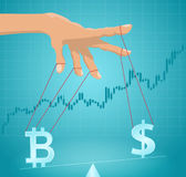 Manipulation of the bitcoin value. Royalty Free Stock Photos