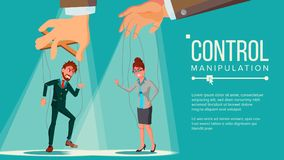 Manipulation Concept Vector. Business People Being Controlled By Puppet Master. Worker On Ropes. Dishonestly Under The. Marionette Concept Vector. Manipulation Stock Illustration