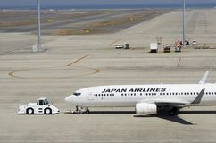 Manipulation de Japan Airlines Boeing 737-800 à l'aéroport international de Chubu Centrair, Japon Photographie stock libre de droits