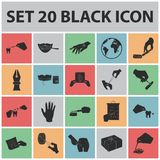 Manipulation by hands black icons in set collection for design. Hand movement in medicine vector symbol stock web. Manipulation by hands black icons in set Royalty Free Stock Image