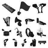 Manipulation by hands black icons in set collection for design. Hand movement vector symbol stock web illustration. Manipulation by hands black icons in set Stock Photography