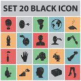 Manipulation by hands black icons in set collection for design. Hand movement vector symbol stock web illustration. Manipulation by hands black icons in set Stock Images