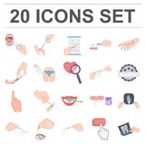 Manipulation by hands cartoon icons in set collection for design. Hand movement in medicine vector symbol stock web. Manipulation by hands cartoon icons in set Royalty Free Stock Photos