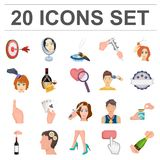 Manipulation by hands cartoon icons in set collection for design. Hand movement vector symbol stock web illustration. Manipulation by hands cartoon icons in set Royalty Free Stock Images