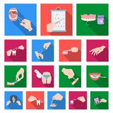 Manipulation by hands flat icons in set collection for design. Hand movement in medicine vector symbol stock web. Manipulation by hands flat icons in set Stock Photo