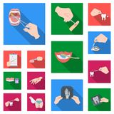 Manipulation by hands flat icons in set collection for design. Hand movement in medicine vector symbol stock web. Manipulation by hands flat icons in set Stock Photography
