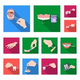 Manipulation by hands flat icons in set collection for design. Hand movement in medicine vector symbol stock web Royalty Free Stock Images