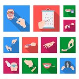 Manipulation by hands flat icons in set collection for design. Hand movement in medicine vector symbol stock web stock illustration