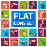 Manipulation by hands flat icons in set collection for design. Hand movement vector symbol stock web illustration. Manipulation by hands flat icons in set Royalty Free Stock Image