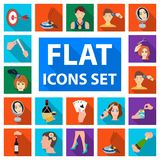 Manipulation by hands flat icons in set collection for design. Hand movement vector symbol stock web illustration. Manipulation by hands flat icons in set Royalty Free Stock Photo