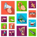 Manipulation by hands flat icons in set collection for design. Hand movement vector symbol stock web illustration. Manipulation by hands flat icons in set Royalty Free Stock Photos