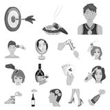 Manipulation by hands monochrome icons in set collection for design. Hand movement vector symbol stock web illustration. Manipulation by hands monochrome icons Royalty Free Stock Photo