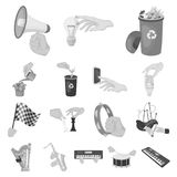 Manipulation by hands monochrome icons in set collection for design. Hand movement vector symbol stock web illustration. Manipulation by hands monochrome icons Royalty Free Stock Photos