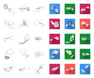 Manipulation by hands outline,flat icons in set collection for design. Hand movement in medicine vector symbol stock web. Manipulation by hands outline,flat royalty free illustration