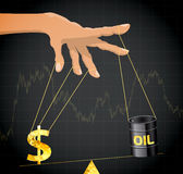 Manipulation of the price of oil. Financial metaphor Royalty Free Stock Images